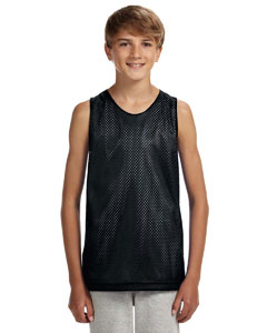 Black/ White Youth Reversible Mesh Tank