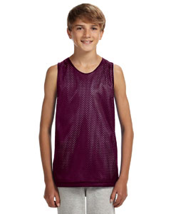 Maroon/ White Youth Reversible Mesh Tank