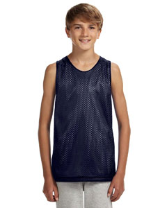 Navy/ White Youth Reversible Mesh Tank