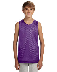 Purple/ White Youth Reversible Mesh Tank