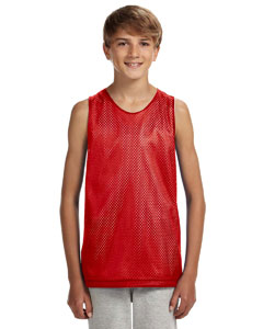 Scarlet/ White Youth Reversible Mesh Tank
