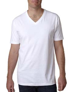 White Men's Premium Fitted Short-Sleeve V-Neck Tee