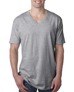 Heather Gray Men's Premium Fitted Short-Sleeve V-Neck Tee