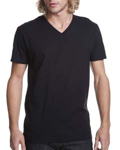 Black Men's Premium Fitted Short-Sleeve V-Neck Tee