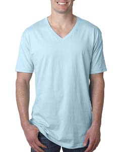 Light Blue Men's Premium Fitted Short-Sleeve V-Neck Tee