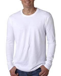 White Men's Premium Fitted Long-Sleeve Crew Tee