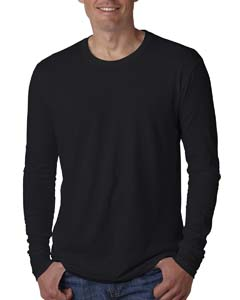 Black Men's Premium Fitted Long-Sleeve Crew Tee