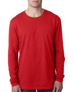 Red Men's Premium Fitted Long-Sleeve Crew Tee