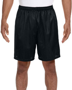Black Adult Seven Inch Inseam Mesh Short