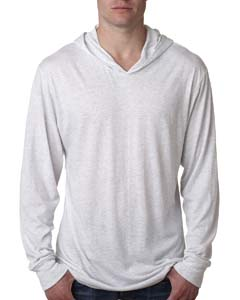 Heather White Unisex Triblend Long-Sleeve Hoody