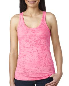 Neon Pink Ladies' Burnout Racerback Tank