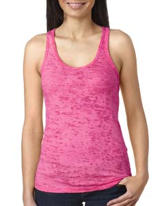 Shocking Pink Ladies' Burnout Racerback Tank