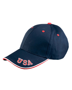 Navy / Red / White 6-Panel Mid-Profile Cap with USA Embroidery
