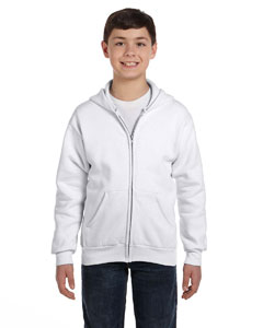 White Youth 7.8 oz. ComfortBlend® EcoSmart® 50/50 Full-Zip Hood
