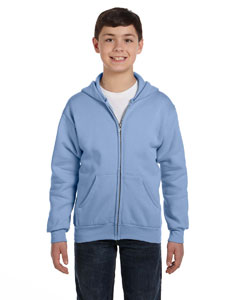 Light Blue Youth 7.8 oz. ComfortBlend® EcoSmart® 50/50 Full-Zip Hood