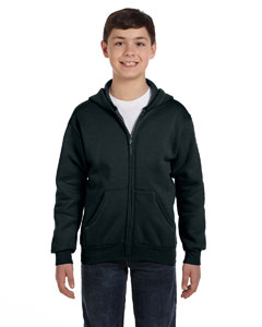Black Youth 7.8 oz. ComfortBlend® EcoSmart® 50/50 Full-Zip Hood