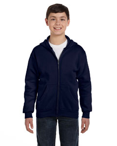 Navy Youth 7.8 oz. ComfortBlend® EcoSmart® 50/50 Full-Zip Hood