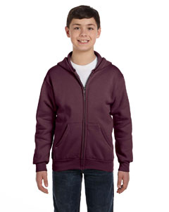 Maroon Youth 7.8 oz. ComfortBlend® EcoSmart® 50/50 Full-Zip Hood