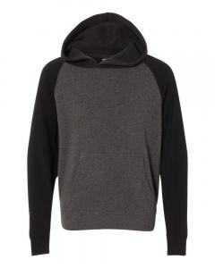 Carbon/ Black Youth Special Blend Raglan Hooded Sweatshirt