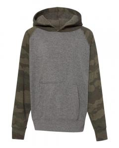Nickel Heather/ Forest Camo Youth Special Blend Raglan Hooded Sweatshirt