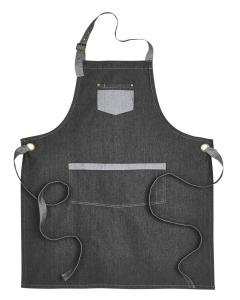 Black Denim Unisex Domain Contrast Denim Bib Apron