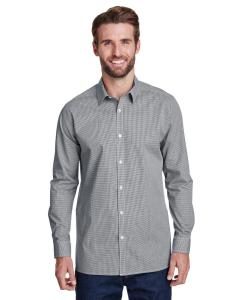 Black/ White Men's Microcheck Gingham Long-Sleeve Cotton Shirt