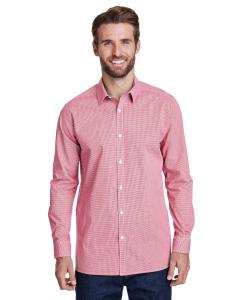 Red/white Men's Microcheck Gingham Long-Sleeve Cotton Shirt