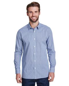 Navy/ White Men's Microcheck Gingham Long-Sleeve Cotton Shirt