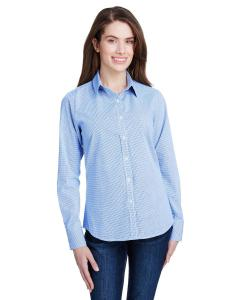 Lt Blue/ White Ladie's Microcheck Gingham Long-Sleeve Cotton Shirt