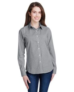 Black/ White Ladie's Microcheck Gingham Long-Sleeve Cotton Shirt