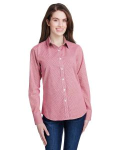 Red/ White Ladie's Microcheck Gingham Long-Sleeve Cotton Shirt