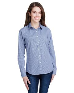 Navy/ White Ladie's Microcheck Gingham Long-Sleeve Cotton Shirt