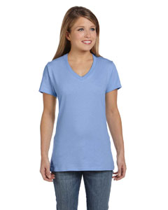 Light Blue Women's 4.5 oz., 100% Ringspun Cotton nano-T® V-Neck T-Shirt