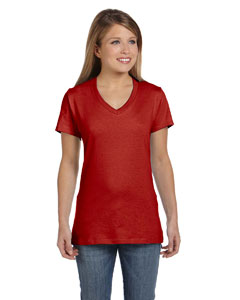 Deep Red Women's 4.5 oz., 100% Ringspun Cotton nano-T® V-Neck T-Shirt