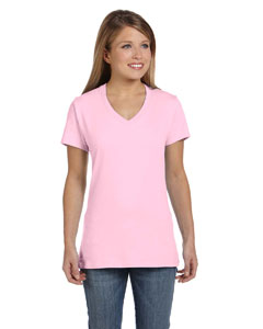 Pale Pink Women's 4.5 oz., 100% Ringspun Cotton nano-T® V-Neck T-Shirt