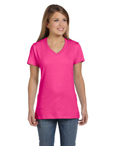 Wow Pink Women's 4.5 oz., 100% Ringspun Cotton nano-T® V-Neck T-Shirt