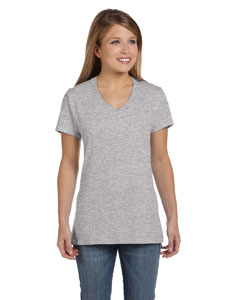 Light Steel Women's 4.5 oz., 100% Ringspun Cotton nano-T® V-Neck T-Shirt