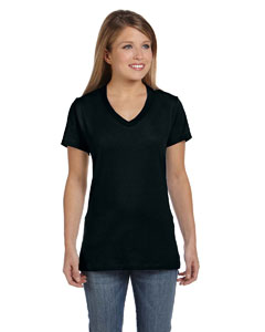 Black Women's 4.5 oz., 100% Ringspun Cotton nano-T® V-Neck T-Shirt