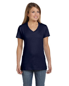 Navy Women's 4.5 oz., 100% Ringspun Cotton nano-T® V-Neck T-Shirt