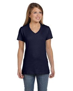Deep Navy Women's 4.5 oz., 100% Ringspun Cotton nano-T® V-Neck T-Shirt