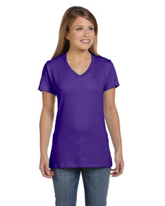 Purple Women's 4.5 oz., 100% Ringspun Cotton nano-T® V-Neck T-Shirt
