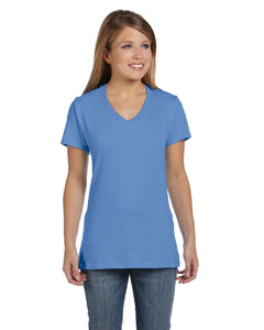 Vintage Blue Women's 4.5 oz., 100% Ringspun Cotton nano-T® V-Neck T-Shirt