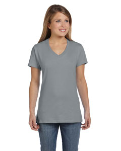 Vintage Gray Women's 4.5 oz., 100% Ringspun Cotton nano-T® V-Neck T-Shirt