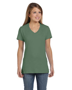 Vintage Green Women's 4.5 oz., 100% Ringspun Cotton nano-T® V-Neck T-Shirt