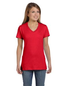 Athletic Red Women's 4.5 oz., 100% Ringspun Cotton nano-T® V-Neck T-Shirt
