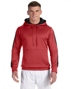 Scarlet/black 5.4 oz. Performance Colorblock Pullover Hood