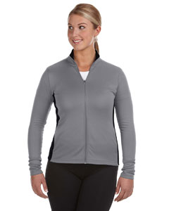Stone Gray/blk Ladies' 5.4 oz. Performance Colorblock Full-Zip Jacket