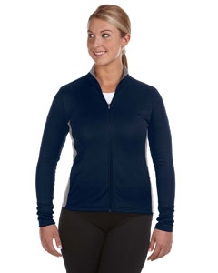 Navy/stone Gray Ladies' 5.4 oz. Performance Colorblock Full-Zip Jacket