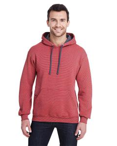 Firebrick Stripe Adult 7.2 oz. Sofspun® Striped Hooded Sweatshirt