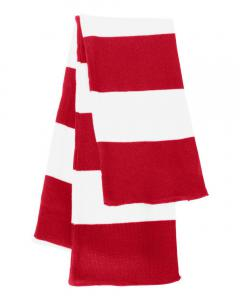 Red/ White Rugby-Striped Knit Scarf
